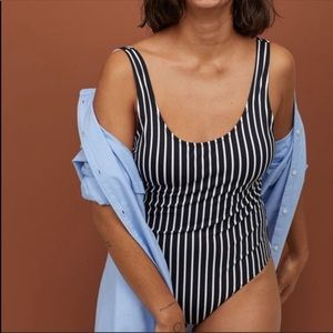 H&M pin striped one piece swimsuit